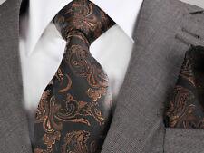 BLACK & Brown Paisley Cravatta & Fazzoletto-Italian Designer Milano esclusivo