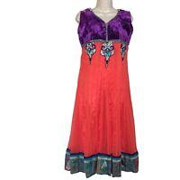 Beaded Vibrant  Bollywood Dress Velvet Bodice India Women's Size XL Orange