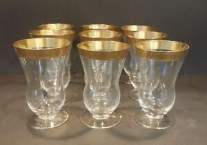 Set of 9 Minuet Glastonbury Lotus Glass Gold Trim Footed Tumbler Ice Tea 3720