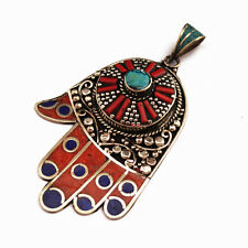 Turquoise Coral Lapis Hand Pendant Tibetan Nepalese Handmade Tibet Nepal UP1023