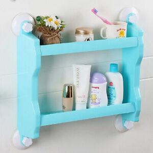 Storage Basket Organizer Shelf Suction Cup Mount Kitchen Bathroom Shower Holder