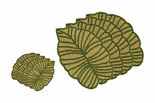 Leaf Beaded Placemats Coasters Table Wedding Christmas Charger Plates 8 Pcs Set