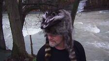 Raccoon mountain man fur hat  Davy crockett Daniel boone coyote black powder fox