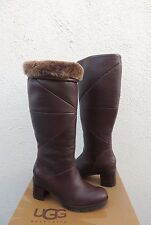 UGG AVERY BROWN WATER-RESISTANT LEATHER SHEEPSKIN BOOTS, US 8/ EUR 39 ~NIB