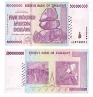ZIMBABWE $500 Million Dollars (2008) P-82 from the $100 Trillion bill series UNC