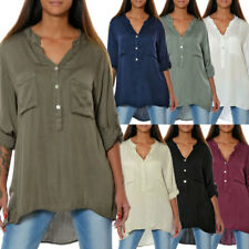 ad46f27a4dfc Damen Hemd Casual Bluse Shirt Top Tunika Longshirt Oberteil 3 4 Arm Elegant