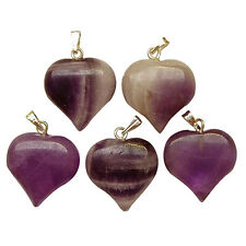 5 AMETHYST Natural Crystal Gemstone PUFF HEART Pendants 18mm