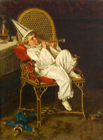 """Art Beautiful Oil painting lovely little boy playing in chair - The Clown 36"""""""