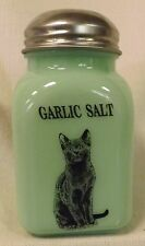 Jade Jadite Milk Green Glass Stove Top Spice Shaker w/ Black Cat - GARLIC SALT