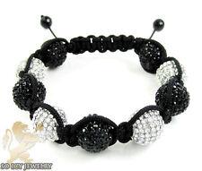 14 mm Mens Big Macramé Bead Ball Black Rhinestone Crystal Rope Bracelet