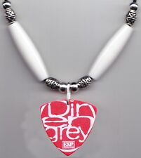 Dir en grey Die Red Guitar Pick Necklace - White Beads