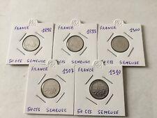 France 5 pièces 50 Cent. en argent Semeuse 1898/99/1900/07/10 TB
