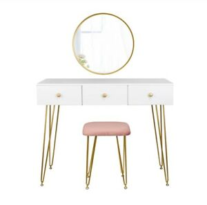 Modern Style Dressing Table With Stool And Mirror Vanity Set