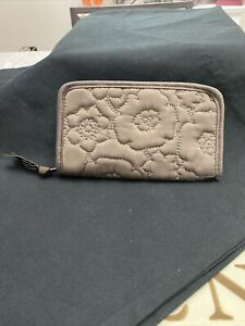 Thirty-One Embroidered Floral Brown Soft Wallet W/Zipper