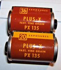 2 Vintage Kodak 35 MM Film Cassettes -20 & 36 Exp. PLUS-X Fast Fine Grain PX 135