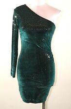LIPSY LONDON One Shoulder Velvet Sequin Dress Green size 8