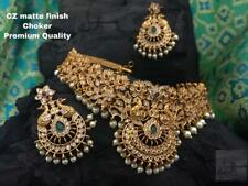 Gold Plated Bollywood Indian Traditional Choker Necklace Earring Kasu CZ AD Set