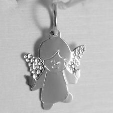 SOLID 18K WHITE GOLD PENDANT FLAT GUARDIAN ANGEL ENGRAVABLE MADE IN ITALY