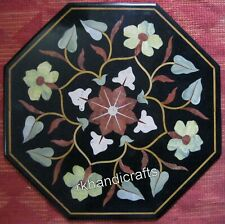 24 Inches Marble Patio Coffee Table Top Floral Design Sofa Side Table Inlay Work