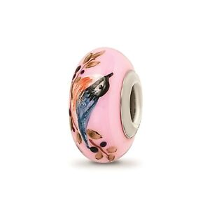 Reflection Beads Sterling Silver Hand Paint Pink Nuthatch Bird Fenton Glass Bead