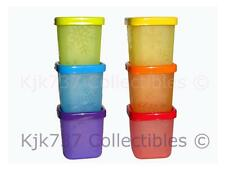 6 RARE TUPPERWARE SQ ROUND SNOWFLAKE MIDGET MINI SNACK CUBE CONTAINERS - FREEZER