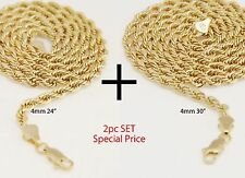 "Mens 14K Yellow Gold Plated 4mm Rope Chain Necklace 24""+30"" 2pc Set"