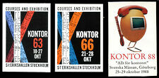 Sweden Poster Stamp - 1963, 66, 88 - Kontor - Office Exhibitions - 3 Different