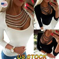 Women Sexy Slim Hollow V Neck Long Sleeve Beads Tops Fringed Rivet Blouse Shirt