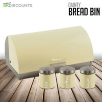 Bread Bin & Canisters Matching Kitchen Set Roll Top Tea Coffee Sugar Chantilly