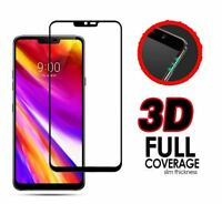 3D 9H Black Flat Full Cover Tempered Glass Screen Protector For LG G7 Thin Q