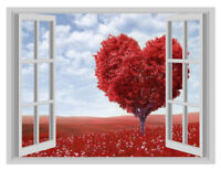 Blossom Heart Country Window Poster 3D Art Wall Sticker Vinyl Decal Mural