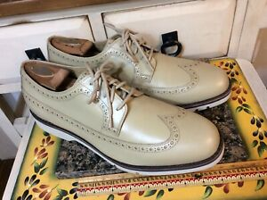 Cole Haan Grand OS XL light  Mens 11M Leather Casual Wingtip Oxford Shoes Beige