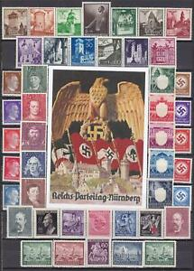 3rd Reich Nazi Souvenir Postcard / MH Lot WWII Stamps!!