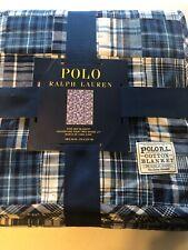 Polo Ralph Lauren King Bed Blanket Madras Plaid Patchwork Lightweight Blue