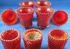 Vintage Red Bubble Glass Lot~ Votive Cups (6) Vintage Bubble Glass Candles (3)
