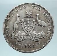 1934 AUSTRALIA - UK King George V Kangaroo Silver Florin Australian Coin i81001