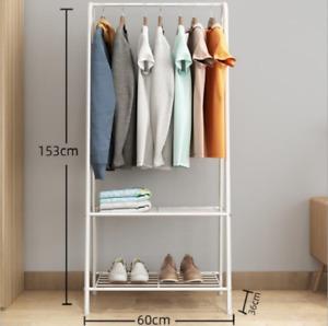 AH Metal Coat Stand Clothes Shoe Rack Hanger Hooks Shelf Brown or White