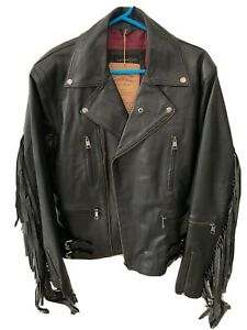 Leather Tassled Biker Style/rock Retro 80's Style Leather Jacket Size 43