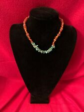 Peyote Bird Designs - Natural Turquoise Beads Choker Necklace .925 Silver Clasp