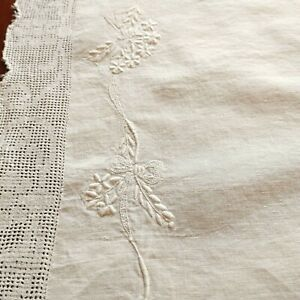 "Antique Madeira Embroidered Linen Table Cloth Square 35 x 38"" Cutwork Edge"