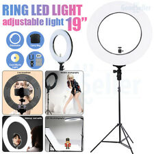 """Photo 19"""" 5500K Dimmable Diva Ring LED Light Diffuser Stand Make Up Live Show"""