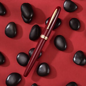 Hongdian 1841 Red Resin Fountain Pen EF/ F Nib, Retro Collectible Gift Pen