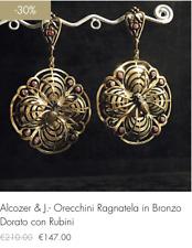 """Alcozer & J. Orecchini """"ragnatela"""" in Bronzo Dorato con Rubini (-30% sconto)"""