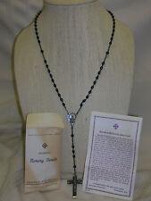 """Blessed Rosary Beads Ebony Italy 22"""" Long Cross Black Beads"""