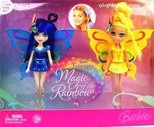 MATTEL Bambola Barbie FAIRYTOPIA FATA La Magia Dell'Arcobaleno Blu + Giallo Regalo 3+