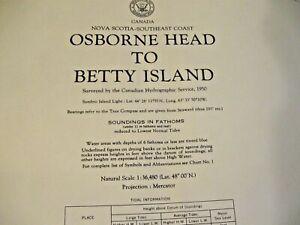 NAVIGATIONAL CHART / MAP # H.O. 147 OSBORN HEAD TO BETTY ISLAND - NOVA SCOTIA