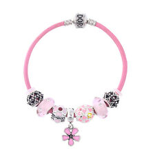 NEW MC Silver Pink Flower Heart Murano Beads Charm Lace Bracelet