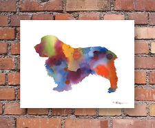 Clumber Spaniel Abstract Watercolor Painting Art Print by Artist DJ Rogers
