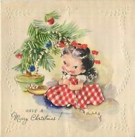 VINTAGE CHRISTMAS CUTE GIRL RED GINGHAM DRESS STRING POPCORN TREE GREETING CARD