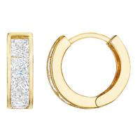14K Solid Yellow Gold Channel Set Square Cut Cubic Zirconia Huggie Hoop Earrings